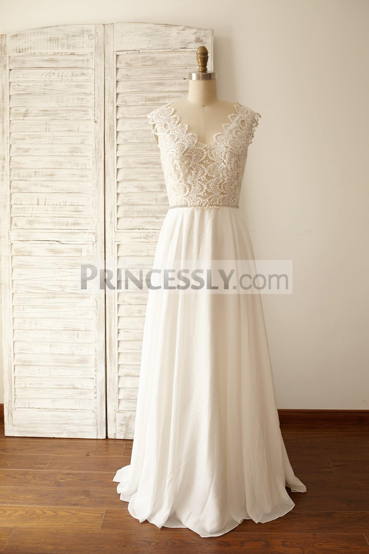 Princessly.com-K1000058-Sheer Lace Deep V Back Chiffon Wedding Dress-31