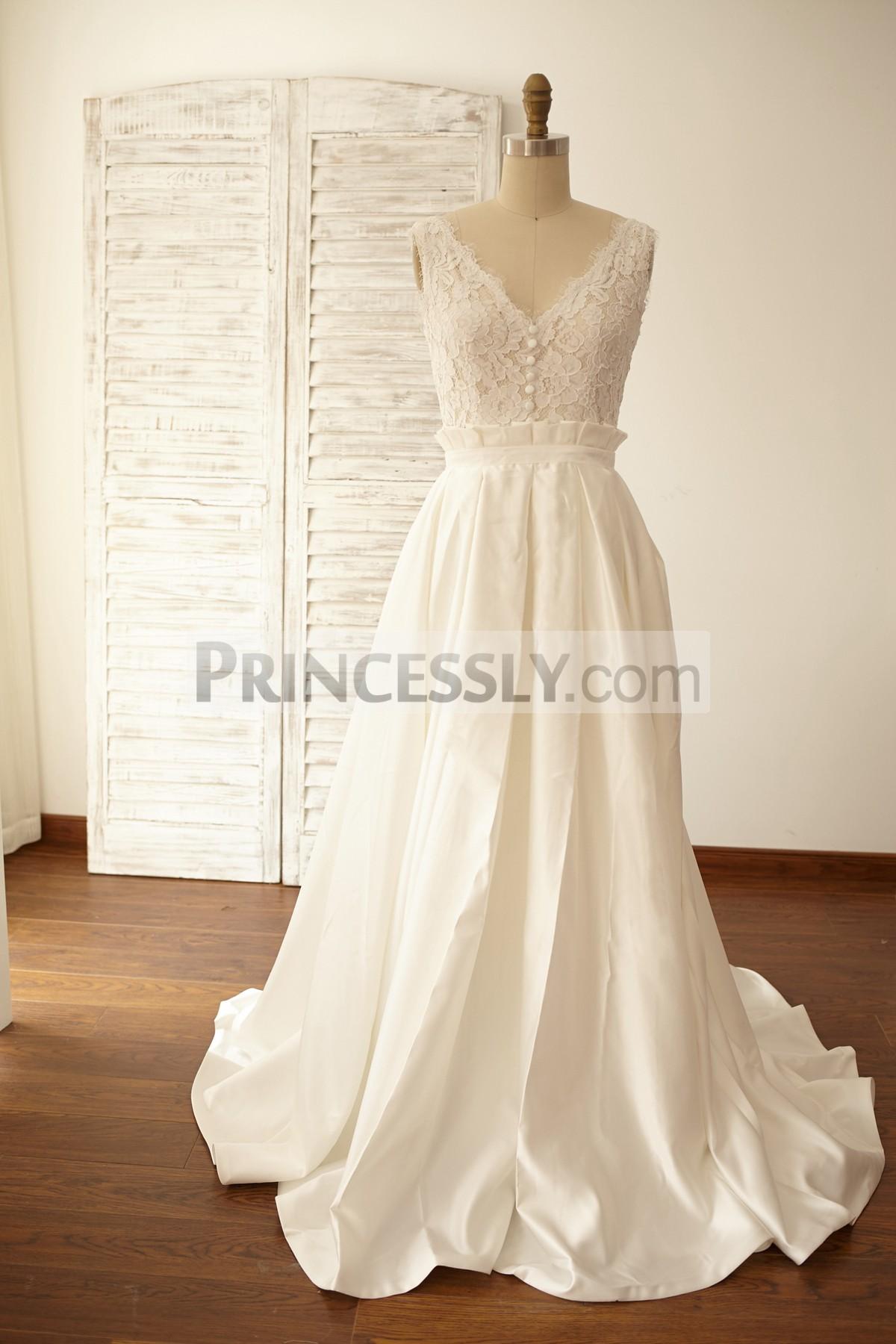 Princessly.com-K1000059-Deep V Back Lace Satin Wedding Dress Bridal Gown-31