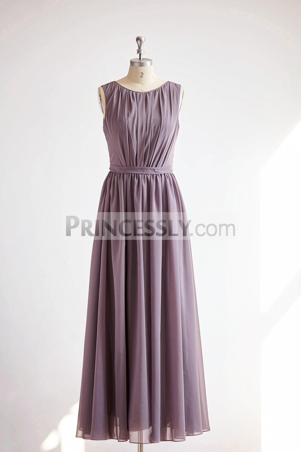 Princessly.com-K1000327-V Back Gray Chiffon Long Wedding Bridesmaid Dress-31