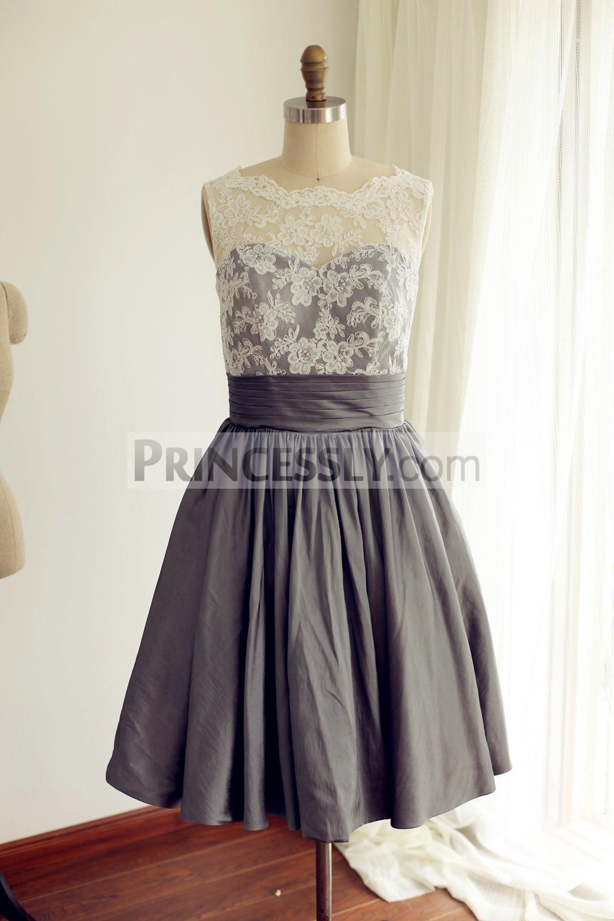 Princessly.com-K1000223-V Back Ivory Lace /Grey Taffeta Tea Length Short Bridesmaid Dress-31