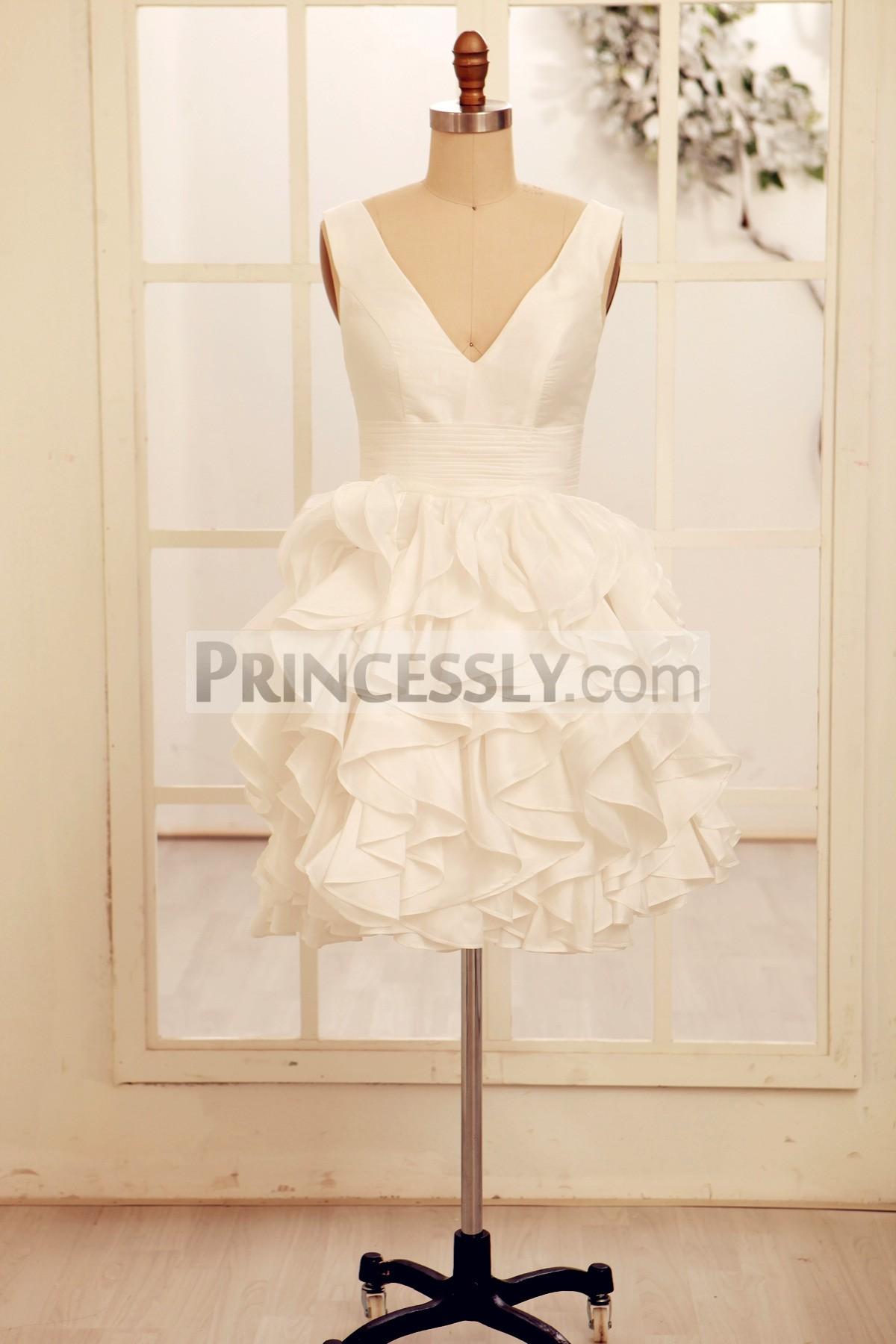 Princessly.com-K1000065-Deep V Neck Ivory Taffeta Ruffle Knee length Short Wedding dress-31