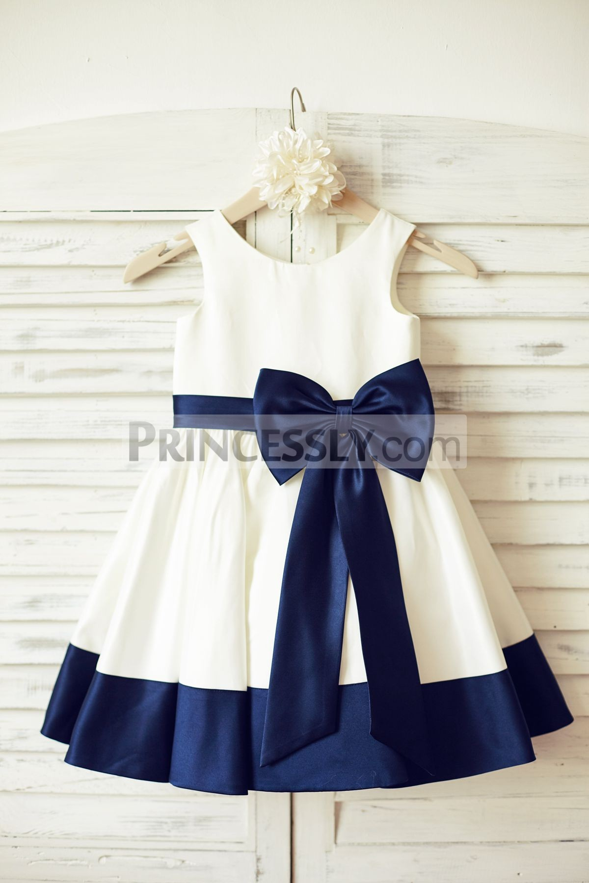 Princessly.com-K1000160-Ivory Satin Flower Girl Dress with navy blue belt/bow-31