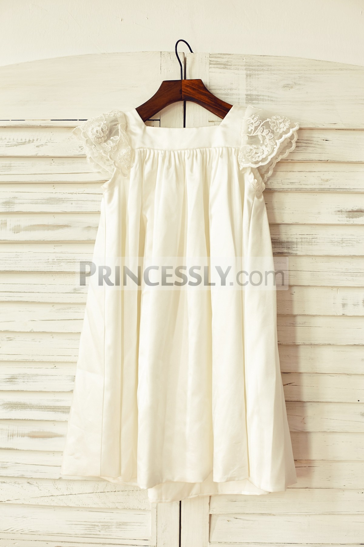 Princessly.com-K1000108-Ivory Satin Cap Sleeves Flower Girl Dress-31