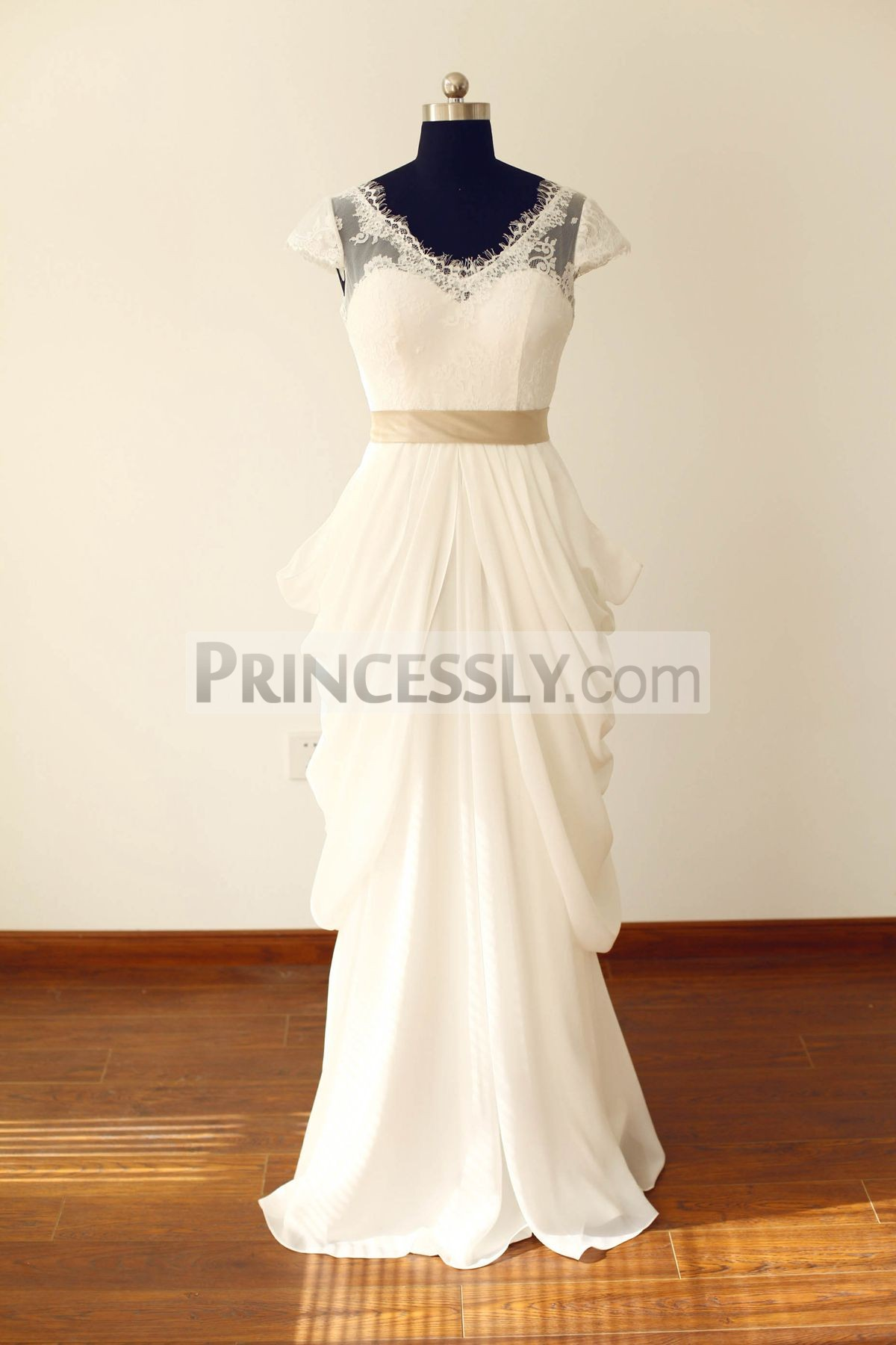 Princessly.com-K1000225-Sheer See Though Ivory Lace Chiffon Cap Sleeves V Back Wedding Dress with champagne sash-31