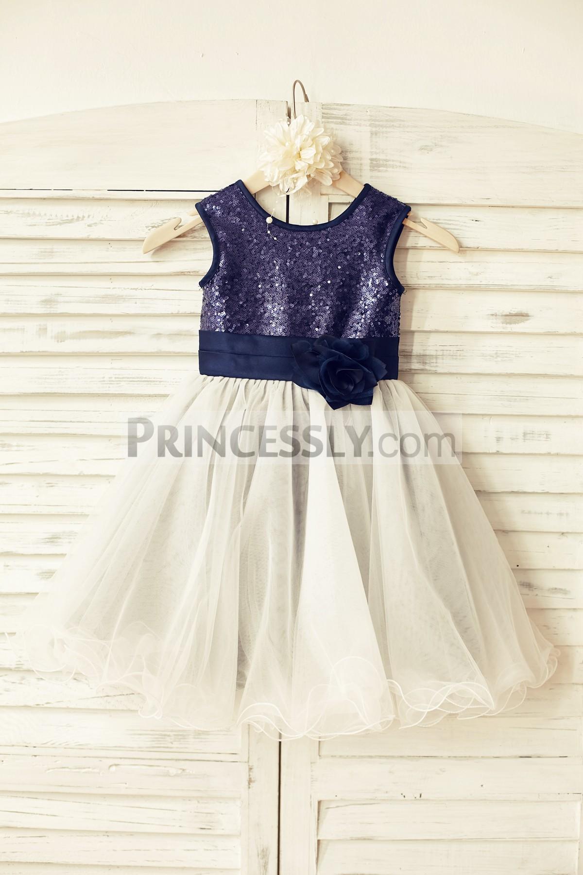 Princessly.com-K1000105-Navy blue Sequin Ivory Tulle Flower Girl Dress with navy blue belt-31