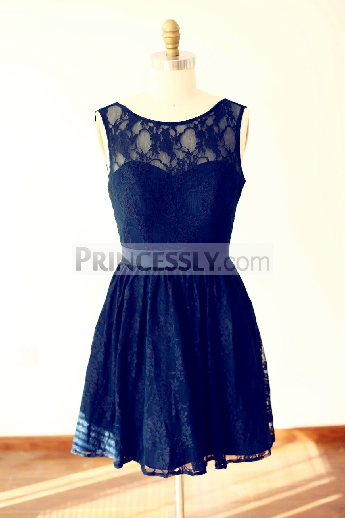 Princessly.com-K1000231-Navy Blue Lace V Back Short Knee Length Bridesmaid Dress-31