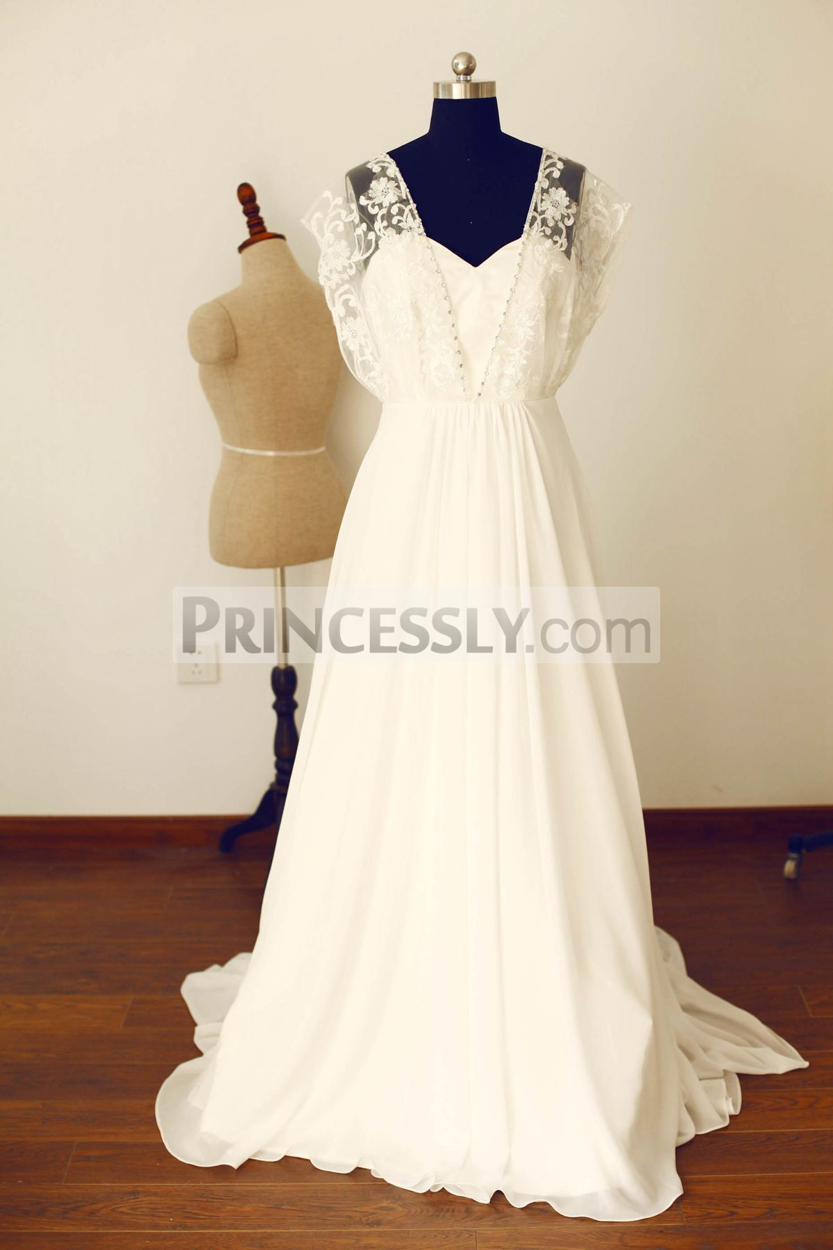 Princessly.com-K1000245-Boho Beach Short Sleeves Ivory Lace Chiffon Long Wedding Dress-31