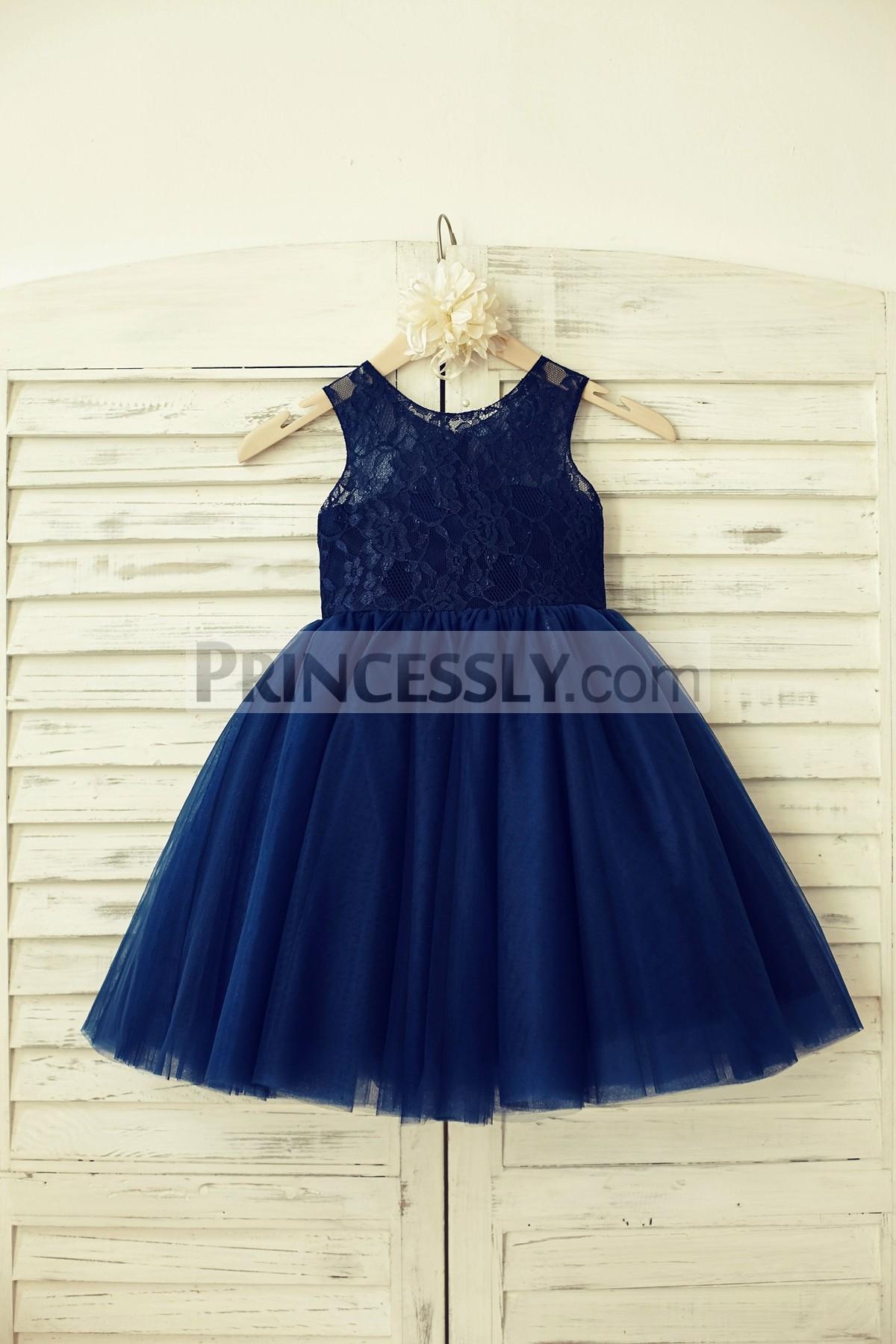 Princessly.com-K1000129-Sheer Neck Navy Blue Lace Tulle Flower Girl Dress-31