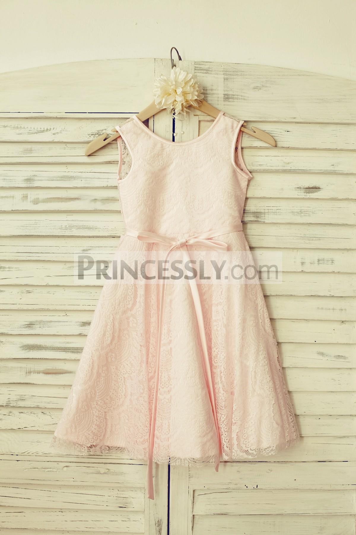 Princessly.com-K1000116-Blush Pink Lace V Back Flower Girl Dress with thin sash-31