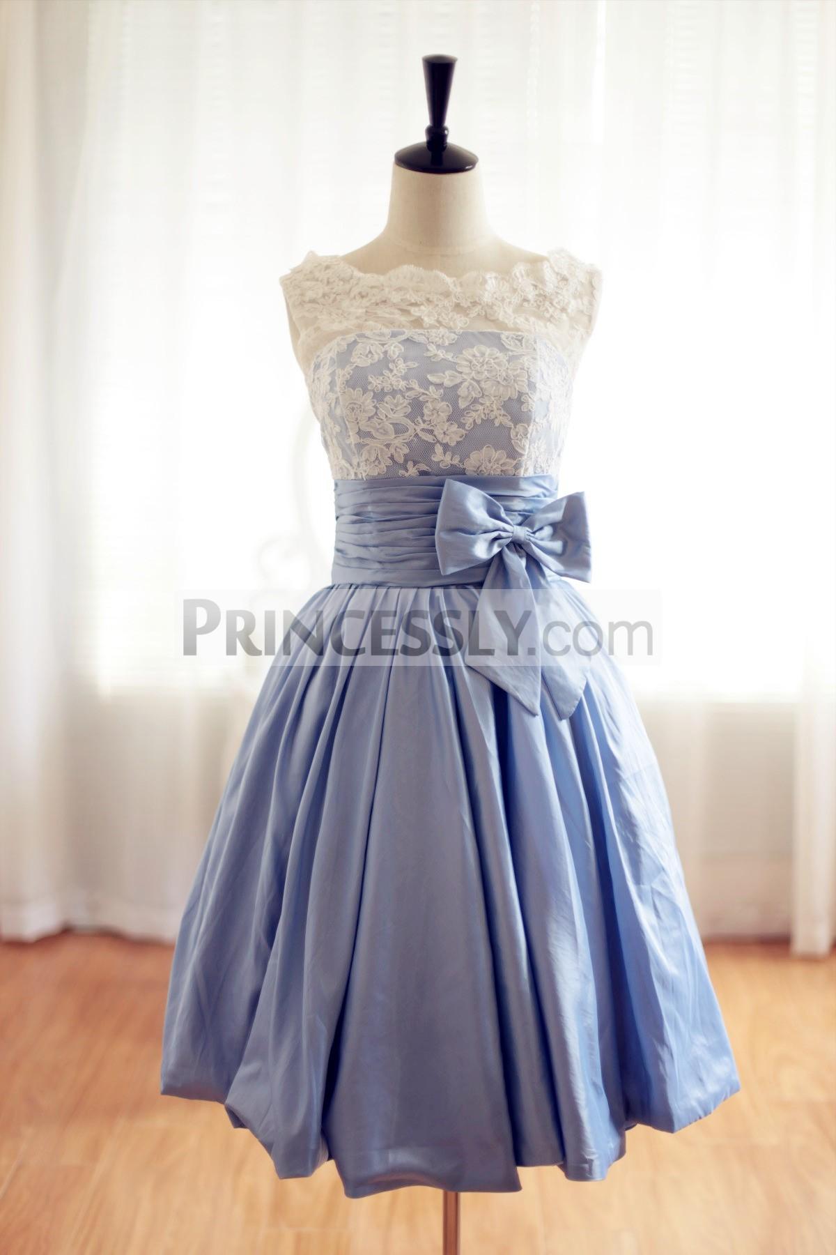 Princessly.com-K1001956-Lace Blue Taffeta Wedding Dress/Bridesmaid Dress in Knee Short Length-31