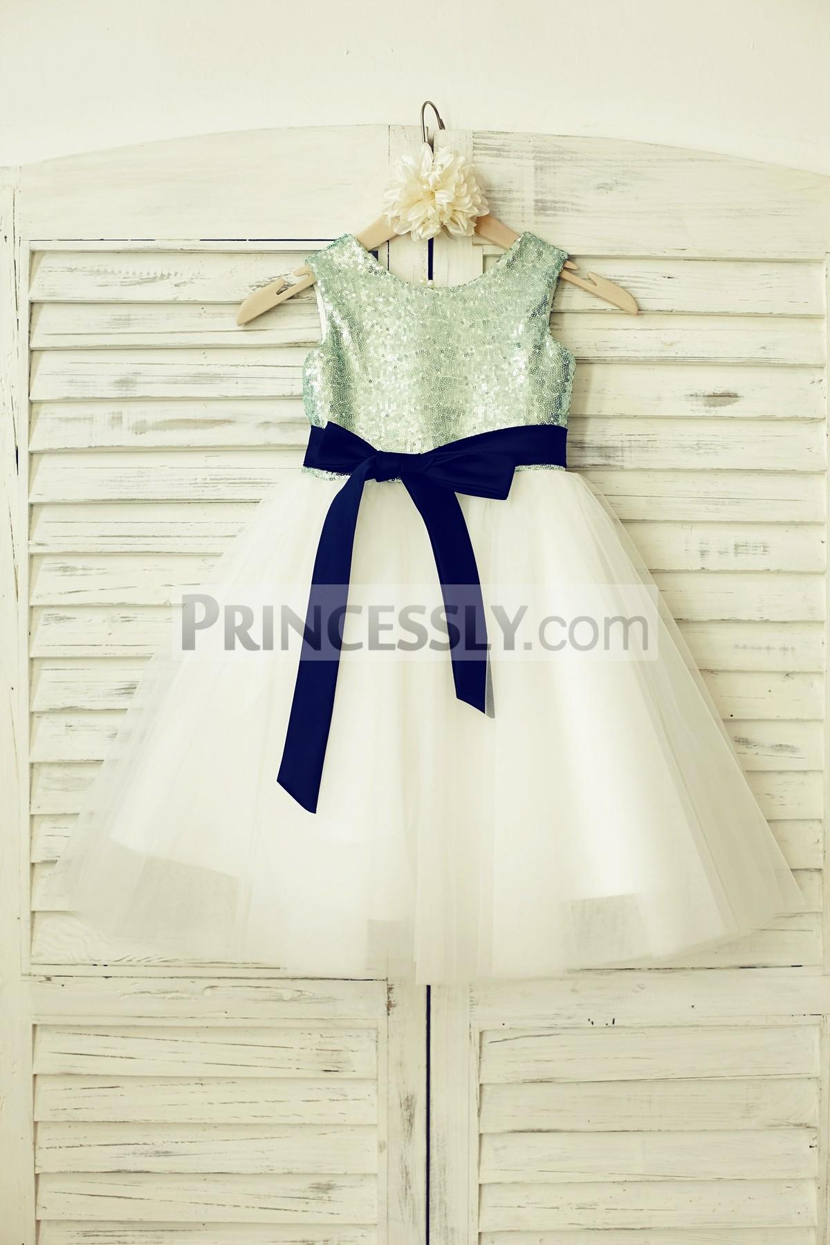 Princessly.com-K1000134-Mint Sequin Ivory Tulle Flower Girl Dress with navy blue sash-31