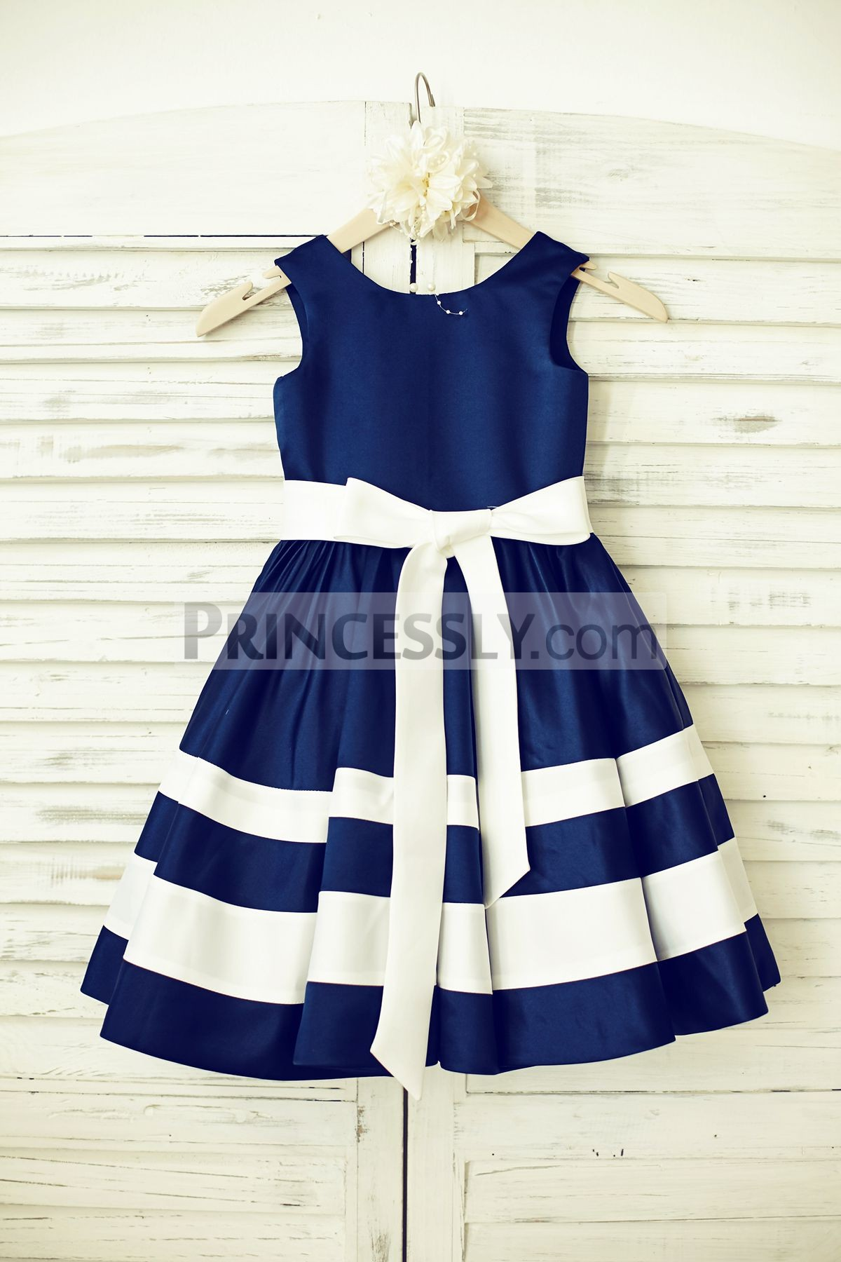 Princessly.com-K1000195-Navy Blue Satin Ivory Striped Flower Girl Dress-31
