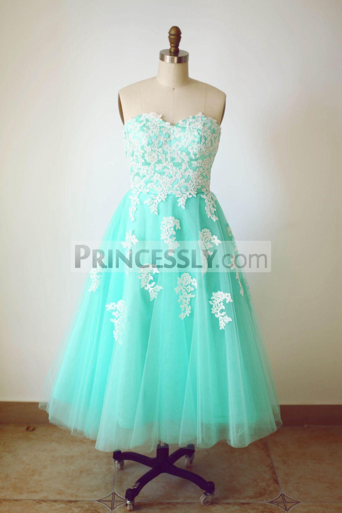 Princessly.com-K1000232-Strapless Sweetheart Mint Blue Tulle Lace Tea Length Short Wedding Dress-31