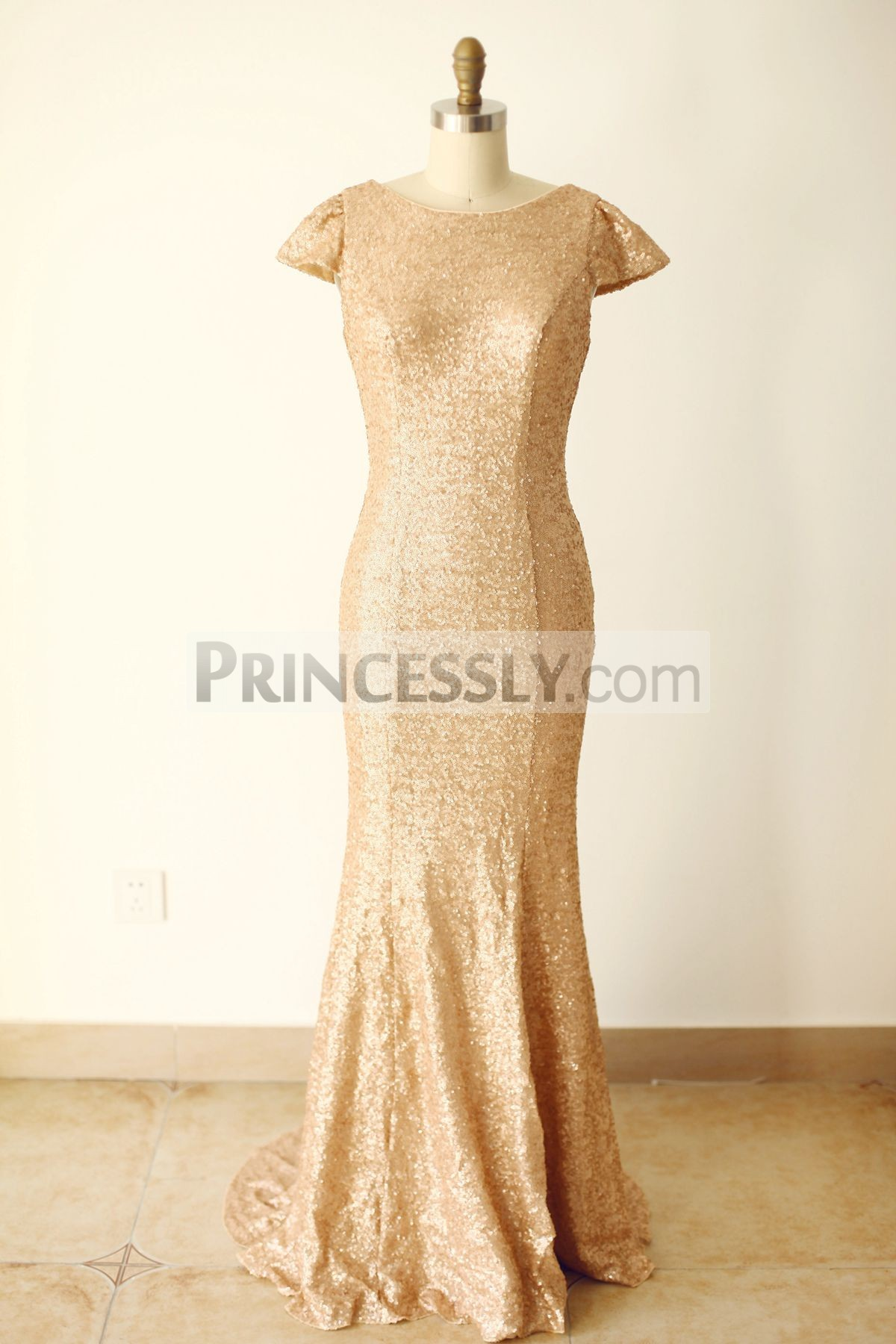 Princessly.com-K1000244-Cap Sleeves Champagne Gold Sequin V Back Long Wedding Bridesmaid Dress-31