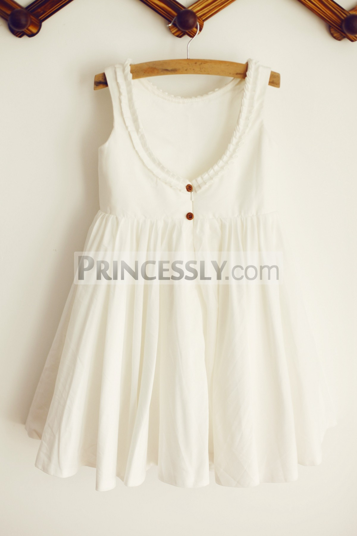 Princessly.com-K1003205-U Back Ivory Cotton Ruffle Neckline Flower Girl Dress-32