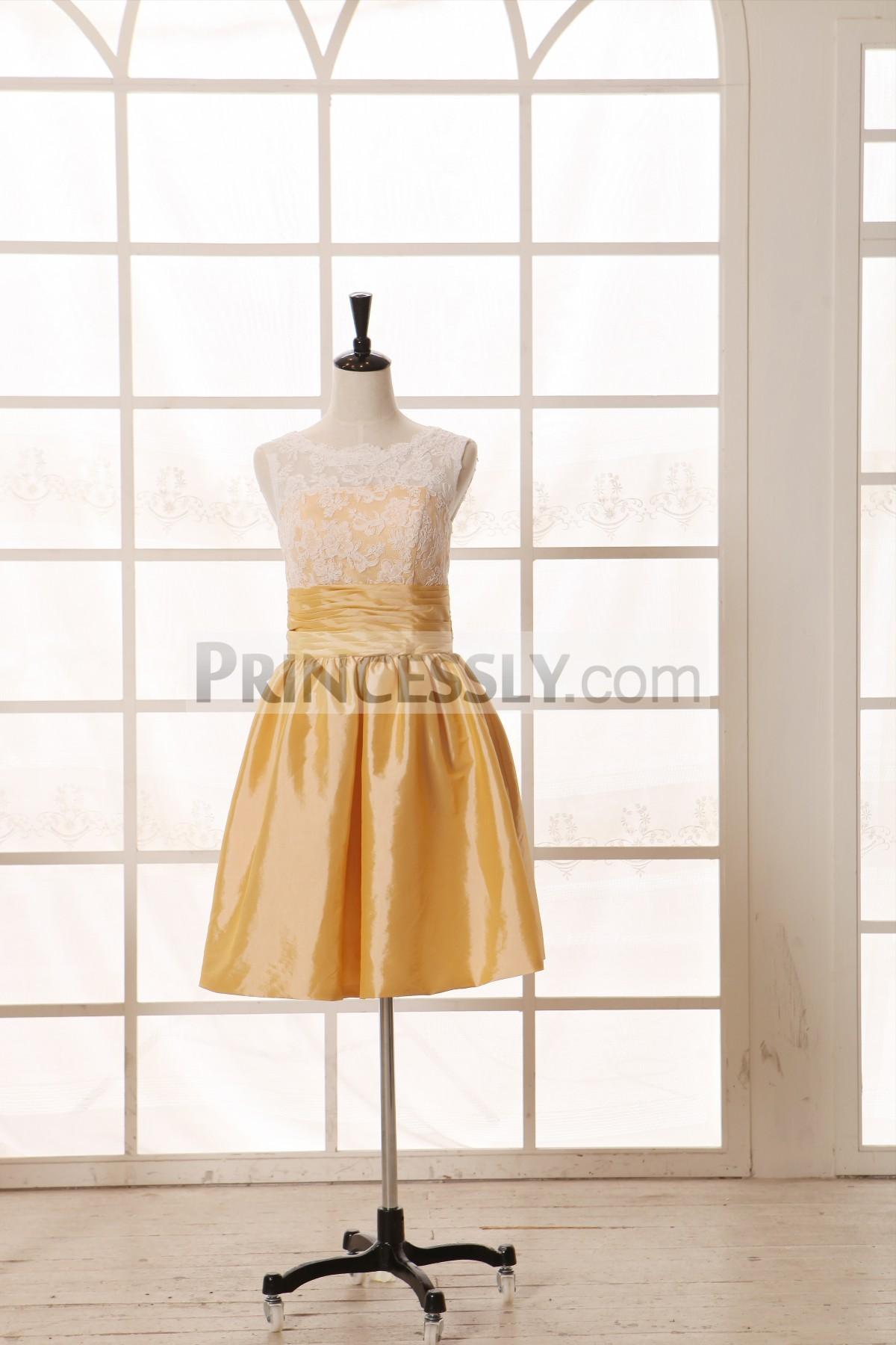 Princessly.com-K1001957-Vintage Ivory Lace Yellow Taffeta Bridesmaid Dress knee Short Length-31
