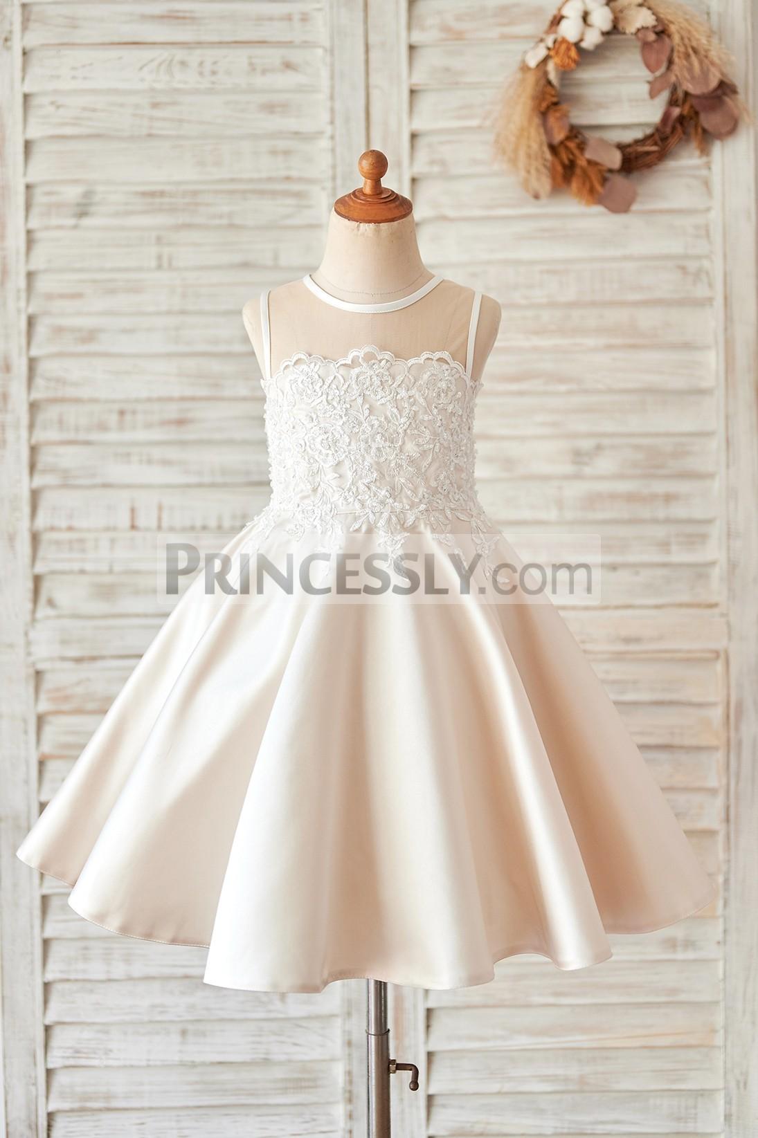 Princessly.com-K1004064-Champagne Satin Ivory Lace Sheer Back Wedding Flower Girl Dress-31