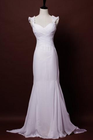 Graceful Trumpet Waved Shoulders V-neck Cross Fishtail Floor Length Court Chiffon Wedding Dress