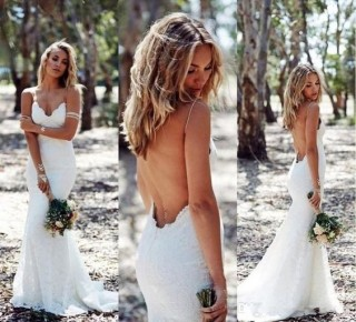 Ivory Lace Spaghetti Straps Backless Wedding Party Dress