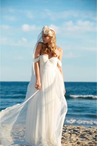 Ivory Chiffon Off Shoulder Wedding Party Dress