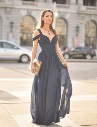 Navy Blue Chiffon Off Shoulder Wedding Prom Evening Party Dress