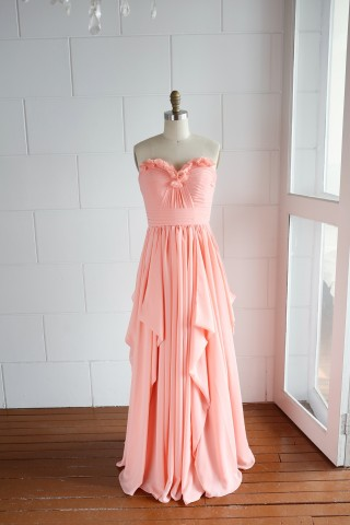 A-line Coral Strapless Sweetheart Ruffle Bridesmaid Dress