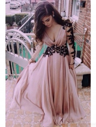Mauve Chiffon Black Lace Long Sleeves V Back Wedding Prom Evening Party Dress