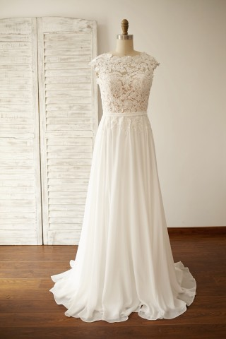 Vintage Deep V Back Lace Chiffon Wedding Dress