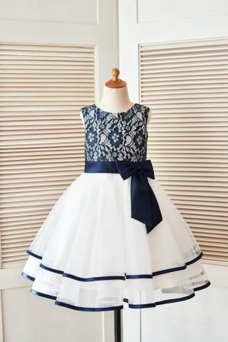 Navy Blue Gold Lace Ivory Tulle Wedding Flower Girl Dress