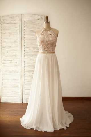 Sexy Halter Neck Backless Lace Chiffon Prom Dress