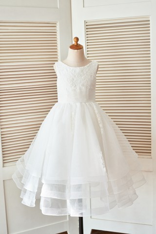 Cupcake Ivory Lace Tulle Wedding Flower Girl Dress with Horse Hair Tulle Hem