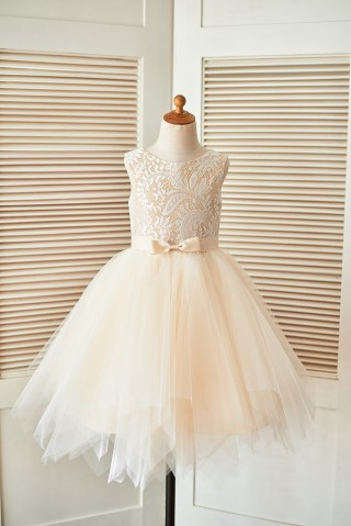 Champagne Lace Tulle Wedding Flower Girl Dress with Uneven Tulle Hem