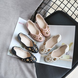 Ivory/Black/Pink Bow Leather Shoes Low Heel Shoes Wedding Party Flower Girl Shoes