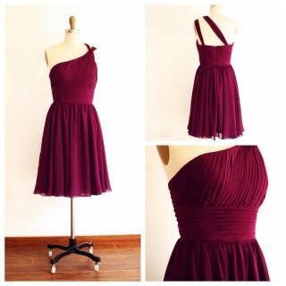 One Shoulder Plum Purple A line Short Knee Length Bridesmaid Dress