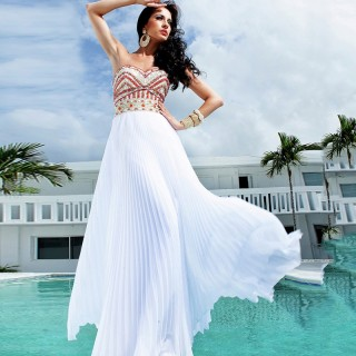 Ivory Chiffon Colored Beading Wedding Prom Evening Party Dress