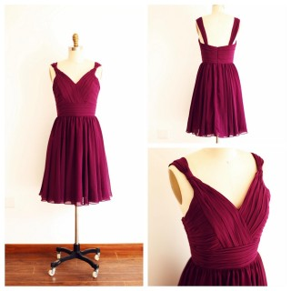 A Line V Neck Plum Purple Short Knee length Chiffon Bridesmaid Dress