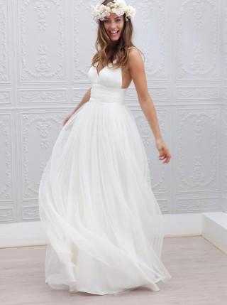 Ivory Tulle Spaghetti Straps Wedding Party Dress