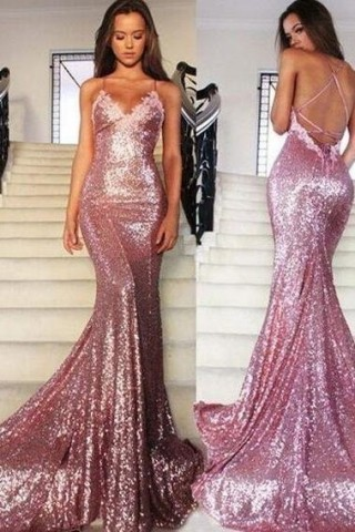 Pink Sequin Lace Spaghetti Straps Backless Wedding Prom Evening Party Dress