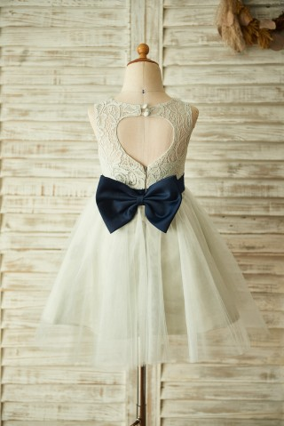 Keyhole Back Silver Gray Lace Tulle Wedding Flower Girl Dress with Bow Belt