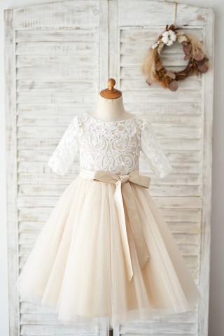 Short Sleeves Ivory Lace Tulle Wedding Flower Girl Dress with Champagne Lining