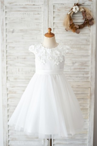 Ivory Lace Tulle Cap Sleeves Flowers Wedding Flower Girl Dress