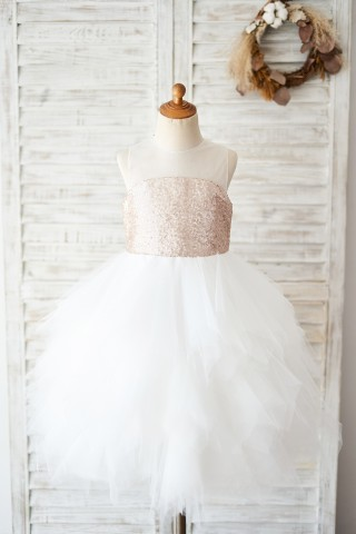 Champagne Sequin Ivory Ruffle Tulle Wedding Flower Girl Dress