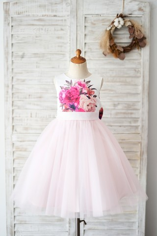 Floral Print Satin Pink Tulle V Back Wedding Flower Girl Dress