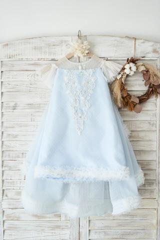 Blue Polka Dot Lace Tulle Cap Sleeves Wedding Flower Girl Dress