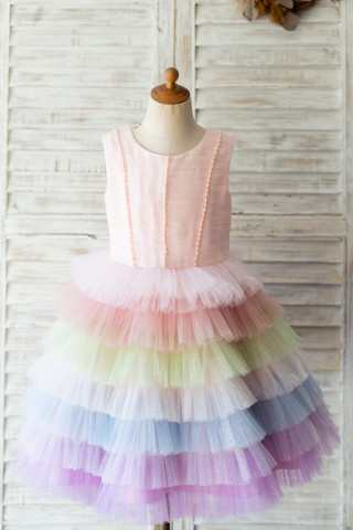 Glittering Tulle Cupcake V Back Wedding Flower Girl Dress