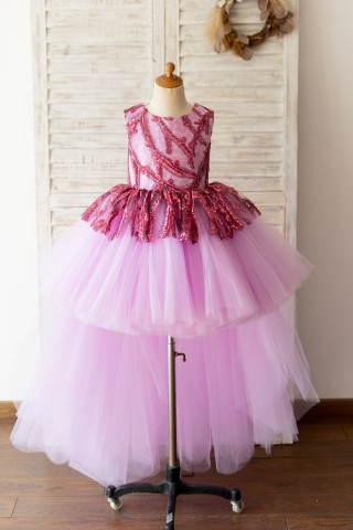 Fuchsia Sequin Tulle V Back Hi Low Wedding Flower Girl Dress Kids Party Dress