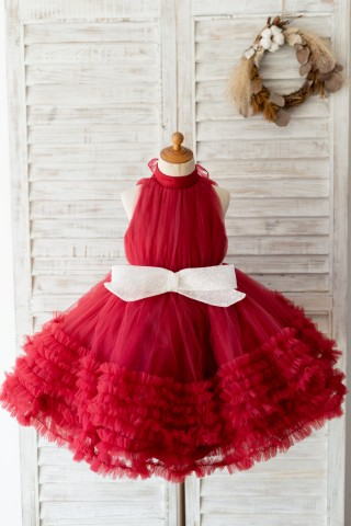 Halter Neck Burgundy Tulle Ruffles Wedding Flower Girl Dress Kids Party Dress