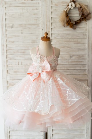 Pink Tulle Beaded Lace Wedding Flower Girl Dress Kids Party Dress