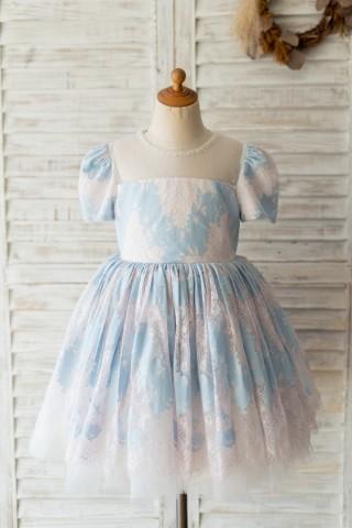 Blue Lace Short Sleeves Wedding Flower Girl Dress