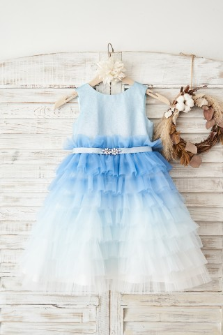 Ombre Blue Glittering Tulle Cupcake Wedding Flower Girl Dress